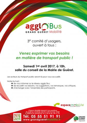 Affiche comité usagers agglo'Bus 2017