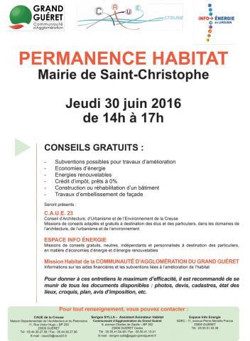 Affiche permanence habitat Saint-Christophe 30/06/2016
