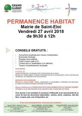 Affiche permanence habitat Saint-Eloi le 27/04/2018