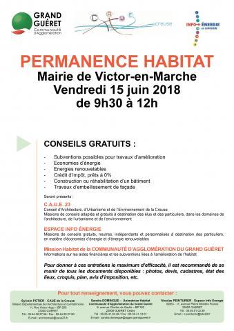 Affiche permanence habitat Saint-Victor le 15062018