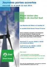 Affiche permanences projet éolien Jouillat Glénic