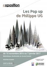 Affiche expo les pop up de Philippe UG