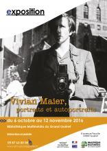 Affiche exposition Vivian Maier Bibliothèque Multimédia du Grand Guéret