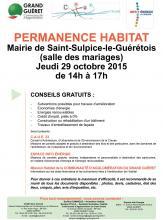 Affiche permanence habitat Saint-Sulpice-le-Guérétois