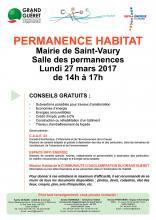 Affiche permanence habitat Saint-Vaury 27 mars